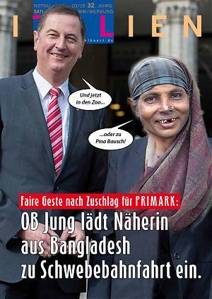 Faire Geste nach Zuschlag für PRIMARK: OB Jung lädth Näherin aus Bangladesh zu Schwebebahnfahrt ein.